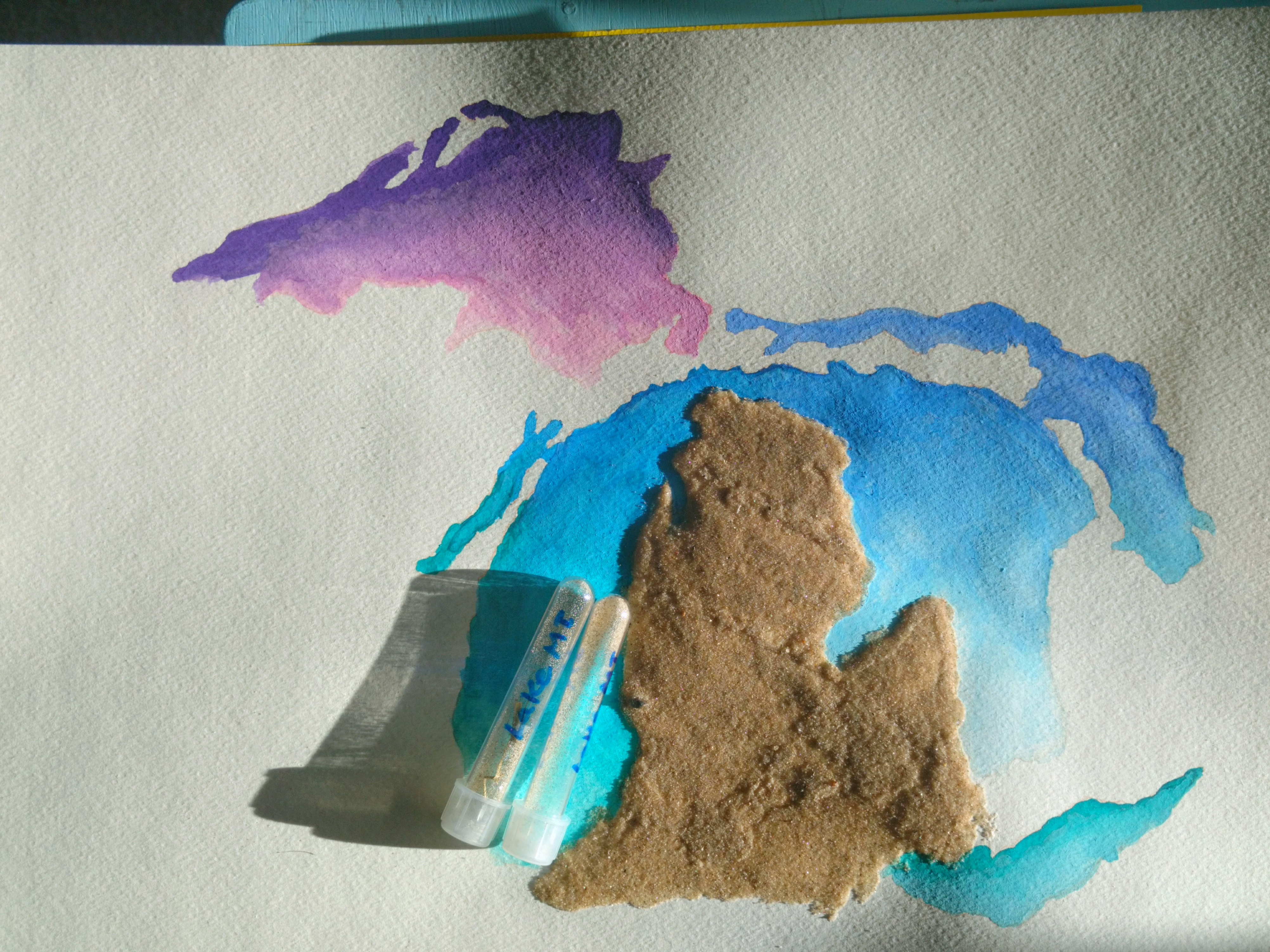 Watercolor of The Great Lakes and Michigan made of beach sand